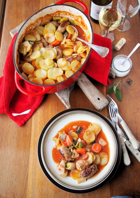 """""""Sunday Lunch"""" Chicken, Sausage and Vegetable Hotpot"""