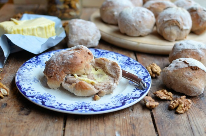 From The Lavender and Lovage Bakery: Country Style Walnut Bread Rolls