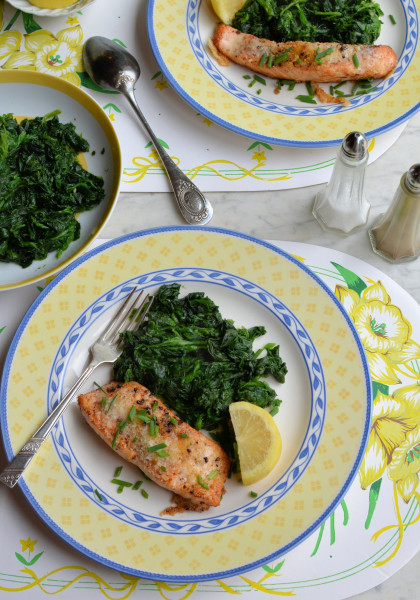Parmesan & Chive Salmon with Garlic Spinach