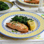 Fish on Friday: Parmesan & Chive Salmon with Garlic & Nutmeg Spinach Recipe