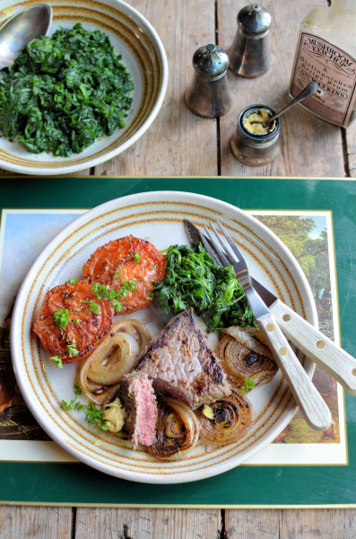 Recipe for Pepper Steak with Pan-fried Onions, Tomatoes and Spinach