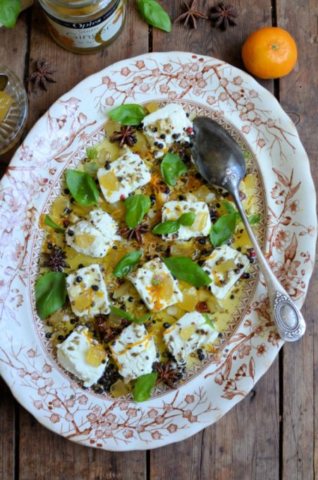 with Fennel, Star Anise, Orange, Garlic, Basil and mixed Peppercorns on Lemon Olive Oil