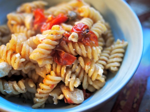 Oven Roasted Tomato and Spring Onion Pasta in a Balsamic Drizzle